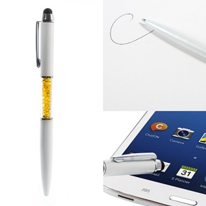 Yellow Crystal Rhinestone 2 in 1 Ballpoint Pen & Stylus Touch Pen for iPhone iPad Samsung HTC LG Nokia