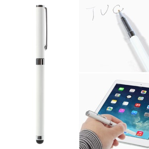 White Multi-functional Ballpoint & Stylus Pen Combo for Capacitive Touch Screen Devices 14cm