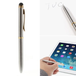 Bicolor Ink Ballpoint & Stylus Pen for All Capacitive Touch Screen Devices - Silver / Gold