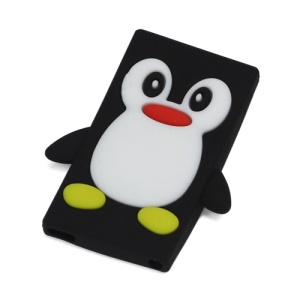 3D Penguin Flex Soft Silicone Back Cover Case for iPod Nano 7 - Black