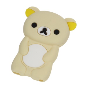 Cute Rilakkuma Bear 3D Cartoon Soft Silicone Skin Case for iPod Nano 7 - Beige