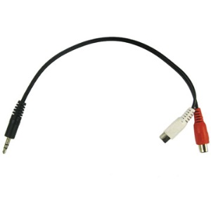 3.5mm male stereo jack to 2 Female RCA plugs cable