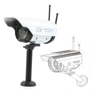 Solar Powered Dummy Autofocus CCD Security Camera with Blinking LED