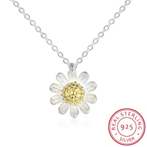 SVN072 Women's Charm Necklace 925 Sterling Silver Daisy Pendant Necklace Statement Jewelry