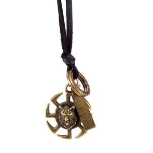 FSN333 Popular Vintage Style Leather Rope Chain Animal Windmill Pendant Necklaces for Man and Women - Black Chain