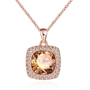 AKN067 Women's Glass Inlaid Square Pendant Necklace Link Chain Charm Necklace - Platinum