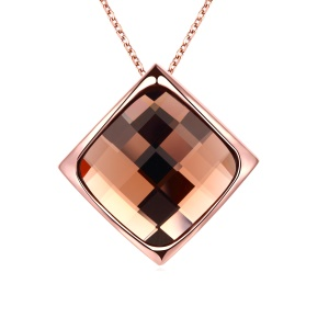 AKN072 Bling Rhinestone Rhombus Pendant Necklace Rose Gold Plated Elegant Necklace for Women