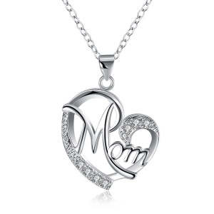 LKNSPCN849 Zircon Decor Mom Love Heart Pendant Charm Necklace Trendy Necklace Mother's Day Gift