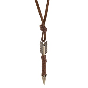 N276 Vintage Style Unisex Leather Rope Arrow Pendant Necklace - Antique Bronze Plated