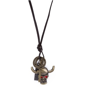 N271 Unisex Retro Style Bull Head Cross Pendant Leather Rope Chain Necklace - Antique Bronze Plated