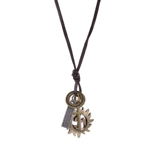N275 Retro Style Unisex Leather Rope Chain Pendant Necklace - Antique Bronze Plated