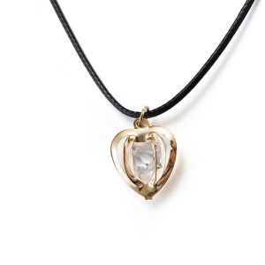 BKN065 Romantic Heart Shape Rhinestone Pendant Rope Chain Necklaces for Women