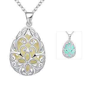 YGN007 Unisex Luminous Hollow Flower Carving Water Drop Shaped Pendant Necklace - Blue