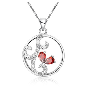 SPN110 Women's Zircon Studded Hollow Round Pendant Necklace Elegant Necklace Birthday Gift - Red