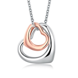 AKN005 Romantic Tin Alloy Hearts Pendant Necklaces Fashion Jewelry Gift for Women, Length: 45 + 5CM