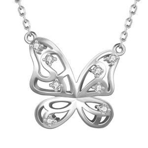 N846 Fashion Bling Zircon Decor Plating Tin Alloy Butterfly Shaped Drop Pendant Necklaces for Women - Platinum Color Plated