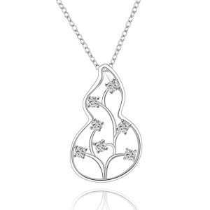 LKNSPCN628 Bling Zircons Flower Gourd Pendant Necklace Silver Plated Necklace Jewelry for Ladies