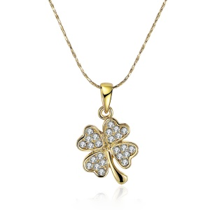 N001 Classic Style Rhinestone Decor Lucky Clover Pendant Necklace for Women - Gold Plated