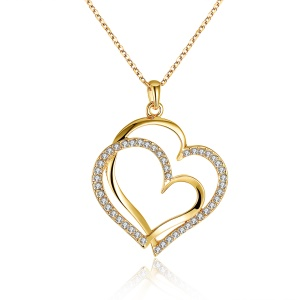 N003 Lover Heart Pendant Necklaces with Bling Rhinestone Decor Romantic Women's Jewelry - Gold Color Plated