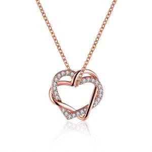 LKN18KRGPN586 Trendy Heart Crystal Decor Pendant Jewelry Necklace Valentine Gift for Girlfriend - Rose Gold Plated