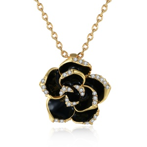 N008 Romantic Flower Shaped Pendant Necklace with Bling Zircon Decor for Women - Gold Color Plated