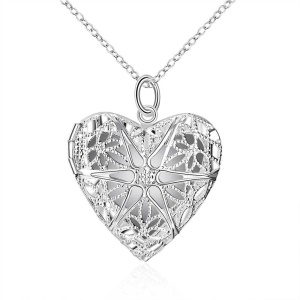 P185 Women Romantic Slide Heart Silver Color Plated Copper Pendant (Necklace Not Included)