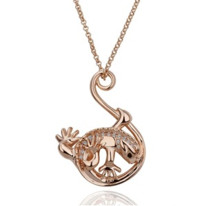 N135 Fashion Animal Pattern Zircon Decor Pendant Necklaces for Women - Rose Gold Plated