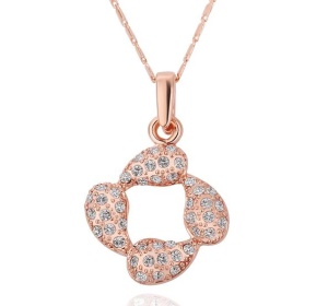 N212 Exquisite Bling Rhinestone Decoration Plating Pendant Necklace for Women - Rose Gold Plated