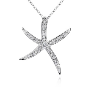 LKNSPCP030 Silver Plated Zircon Starfish Pendant (Chain Not Included) - Silver