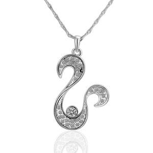 N465 Fashionable Plating Tin Alloy Bling Zircon Pendant Necklace for Female