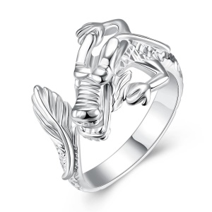 LKNSPCR054 Unisex Creative Dragon Style Silver Plated Adjustable Opening Finger Ring - Size: 8