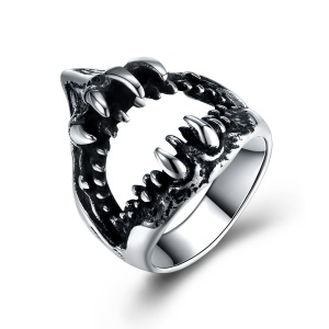 GMYR268 Fashion Ring Shark Mouth Shape Titanium Steel Ring - Size: 9