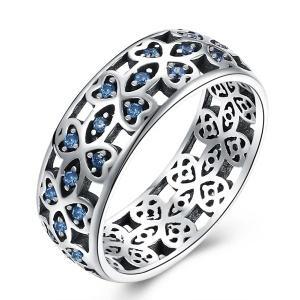 R161 Classic Chinese Style Zircon 925 Silver Rings for Women - Size: 6