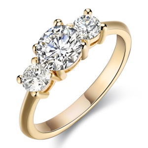 R512 Women's Wedding Rings Champagne Gold Plated Copper Zircon Ring - Size: 7