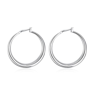E020 Jewelry Wholesale Simple and Fashion Silver Plated Hoop Earrings for Women