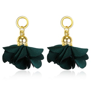 YW-LXE014 Fashion Non-woven Flower Antique Gold Plated Dangling Earrings - Green