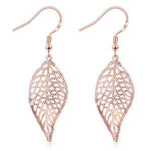 KZCE222 Delicate Hollow Out Leaf Shaped Plating Drop Earrings for Ladies - Gold Color Plated