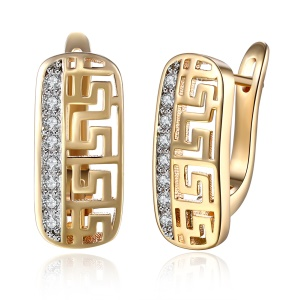 KZCE098 Fashion Champagne Gold Plated Zircon Ear Clip Earrings, Size: 1.9 x 0.9CM