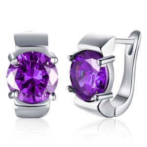 KZCE155-C-2 Fashion Platinum Plated Popular Ear Clip Circular Nice Earrings for Women Ladies - Purple