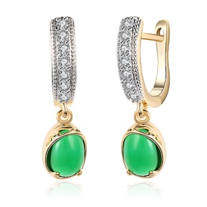 KZCE160-C Romantic Style Hot Sale Elegant Platinum Plated Ear Clip for Girls Ladies - Green