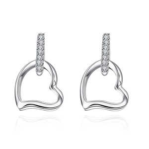 E731 Chic Hollow Out Heart Silver Plated Nice Earrings for Women