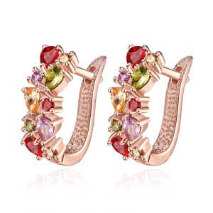 KZCE091 Fashion Rose Gold Plated Colorful Zircons Earrings for Women