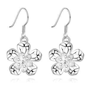 E684 Amazing Flower Shaped Silver Plated Drop Earrings for Ladies Girls