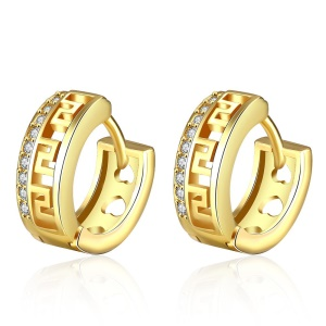 E052 Fashion Hollow Out Plating Copper Earrings with Zircon Decoration for Women - Gold Color Plated