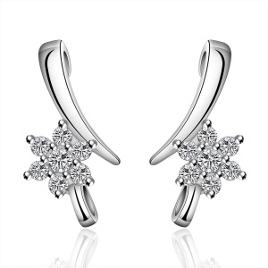 E586 Popular Flower Pattern Plating Copper Zircon Ear Studs for Ladies