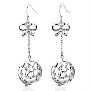 E572 Trendy Round Shaped Hollow Plating Copper Drop Earrings for Women