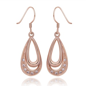 E985 Trendy Women's Earrings Shiny Zircon Decor Plating Tin Alloy Earrings - Rose Gold Plated