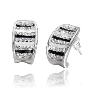 E957 Delicate Oil Drip Zircon Decor Plating Tin Alloy Ear Studs for Ladies - Platinum Color Plated