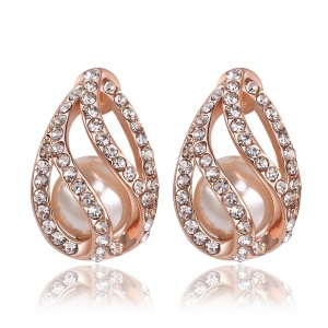 E956 Romantic Water Drop Shaped Plating Tin Alloy Pearl Rhinestone Ear Studs for Women - Rose Gold Plated