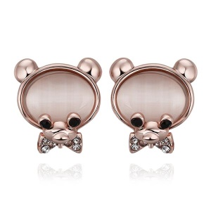E888 Exquisite Bear Shaped Rhinestone Semi-precious Stone Ear Studs for Girls - Rose Gold Plated